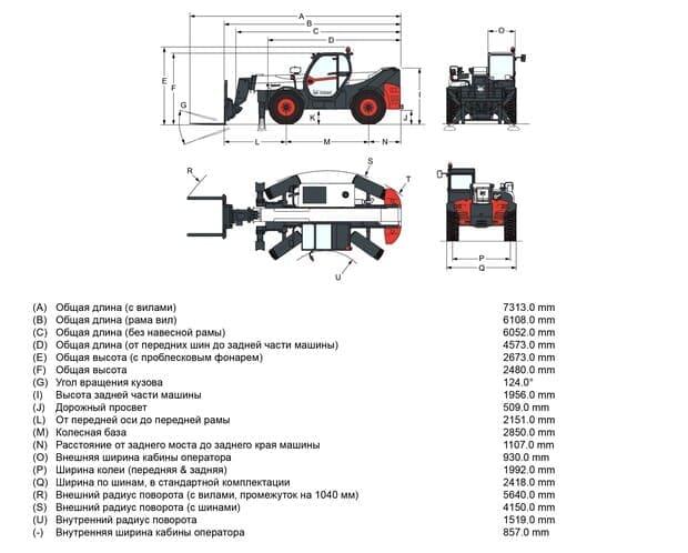 Габариты Bobcat Т35140S