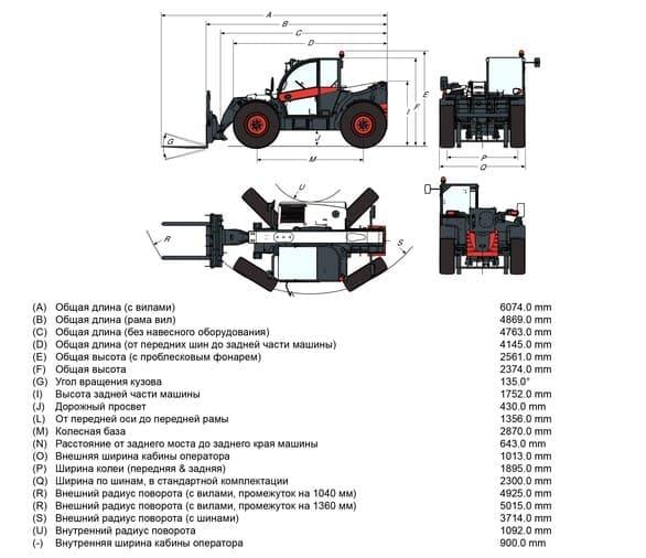 Габариты Bobcat TL35.70+Agri