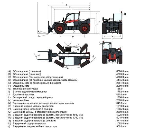 Габариты Bobcat TL38.70HF+Agri