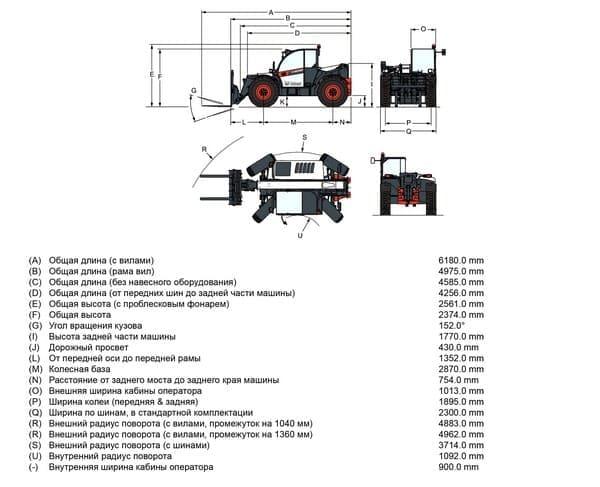 Габариты Bobcat TL43.80 Agri